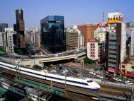 Bullet Train, Ginza District, Tokyo, Japan