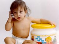 desktop wallpapers » babies backgrounds » cute baby talking on phone