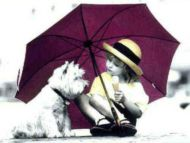 Girl with her Dog in the Rain