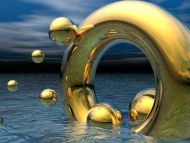 Desktop wallpapers 3d backgrounds gold ring and balls for Gold 3d wallpaper
