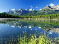Herbert Lake and Bow Range, Canadian Rockies, Alberta