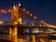 John a Roebling Suspension Bridge and Cincinnati Skyline