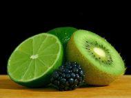 Kiwi, Lemon and Black Grapes