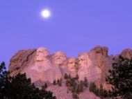 Moon over Mount Rushmore, South Dakota