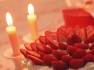 Strawberry Cake with Candle