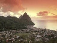 Sunset View of the Pitons and Soufriere, St. Lucia
